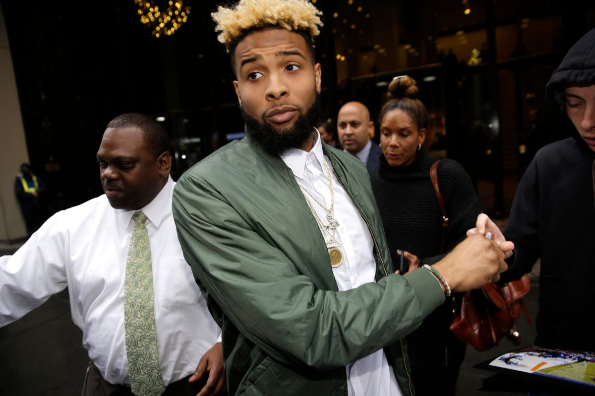 New York Giants' Odell Beckham Jr. leaves NFL headquarters in New York, Wednesday, Dec. 23, 2015. Hearing officer James Thrash upheld the suspension for multiple violations of safety-related playing rules after hearing an appeal by the New York Giants wide receiver earlier in the day. Beckham will miss the game Sunday night at Minnesota. (AP Photo/Seth Wenig) (AP)
