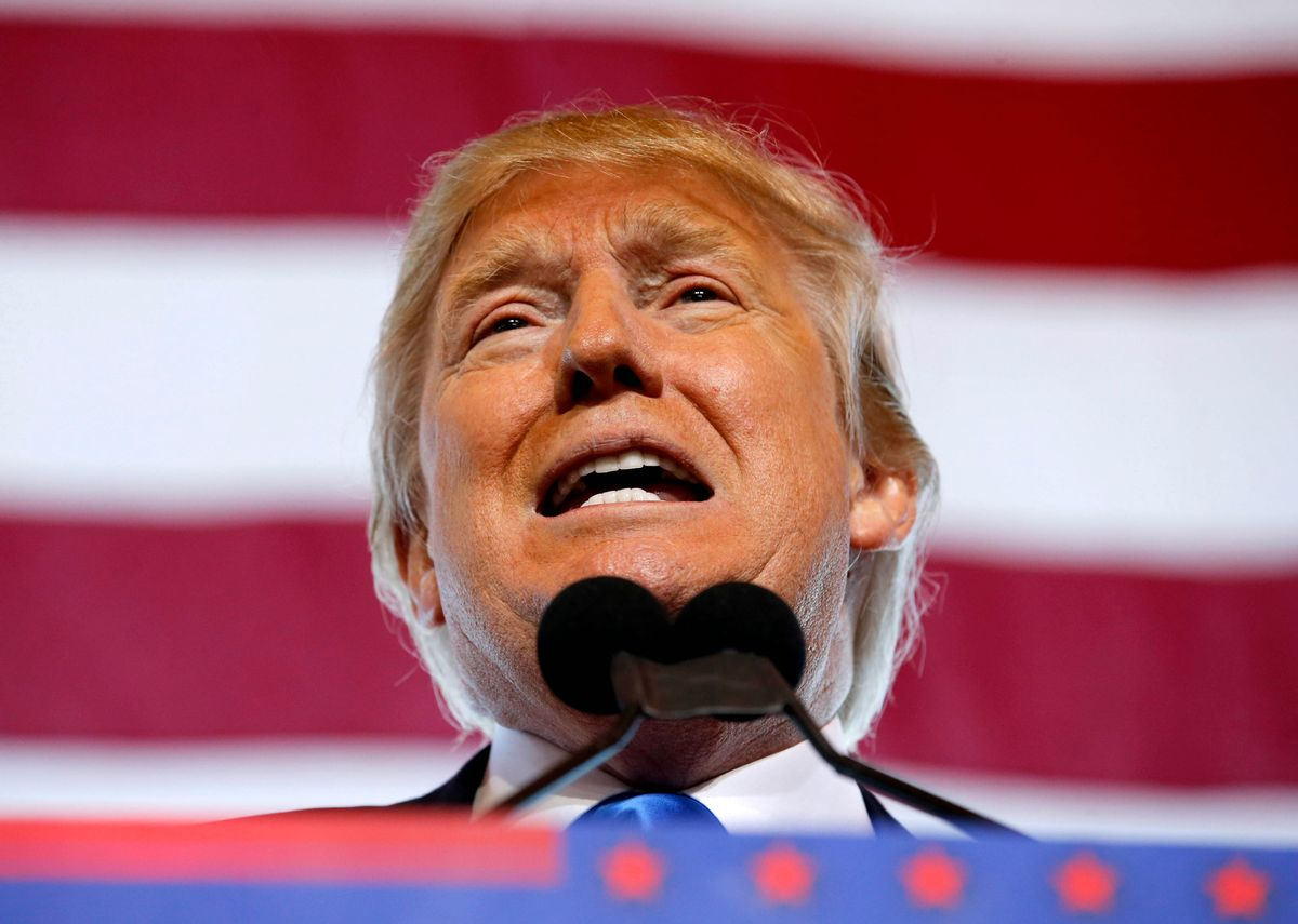 Republican presidential candidate Donald Trump speaks at a campaign rally, Wednesday, Dec. 16, 2015, in Mesa, Ariz. (AP Photo/Ross D. Franklin) (AP)