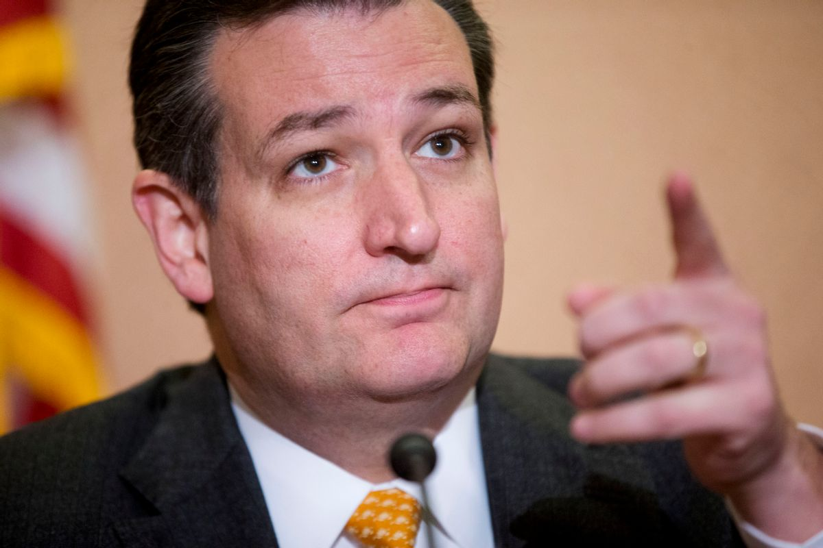 Republican presidential candidate Sen. Ted Cruz, R-Texas gestures as he takes questions from members of the media during a news conference with Texas Gov. Greg Abbott, about the resettlement of Syrian refugees in the U.S., during a news conference on Capitol Hill in Washington, Tuesday, Dec. 8, 2015. (AP Photo/Pablo Martinez Monsivais) (AP)