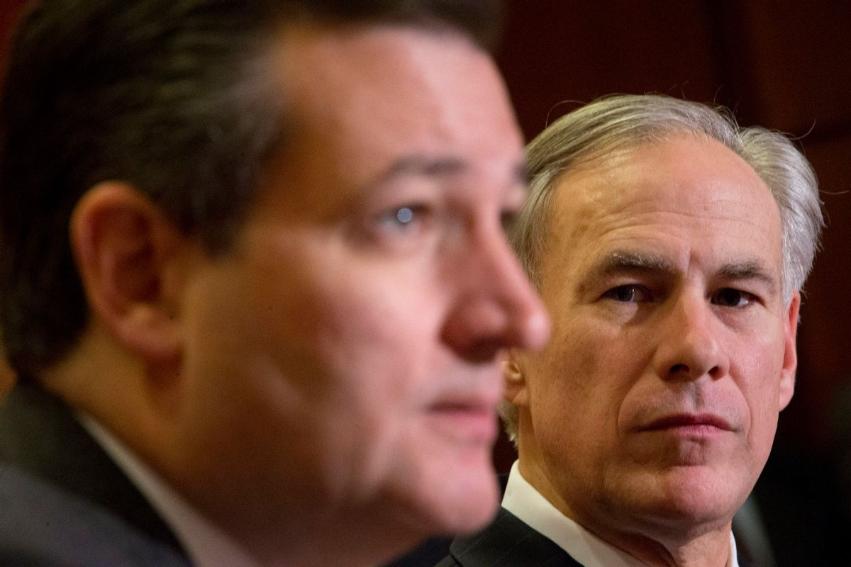 Texas Gov. Greg Abbott. right, listens to Republican presidential candidate Sen. Ted Cruz, R-Texas, left, speak about the resettlement of Syrian refugees in the U.S., during their joint news conference on Capitol Hill in Washington, Tuesday, Dec. 8, 2015.   Abbott was in Washington with Cruz to support a bill Cruz has introduced in Congress banning any refugees from Iraq, Syria or other countries deemed to be controlled by a foreign terrorist organization.  (AP Photo/Pablo Martinez Monsivais) (AP)