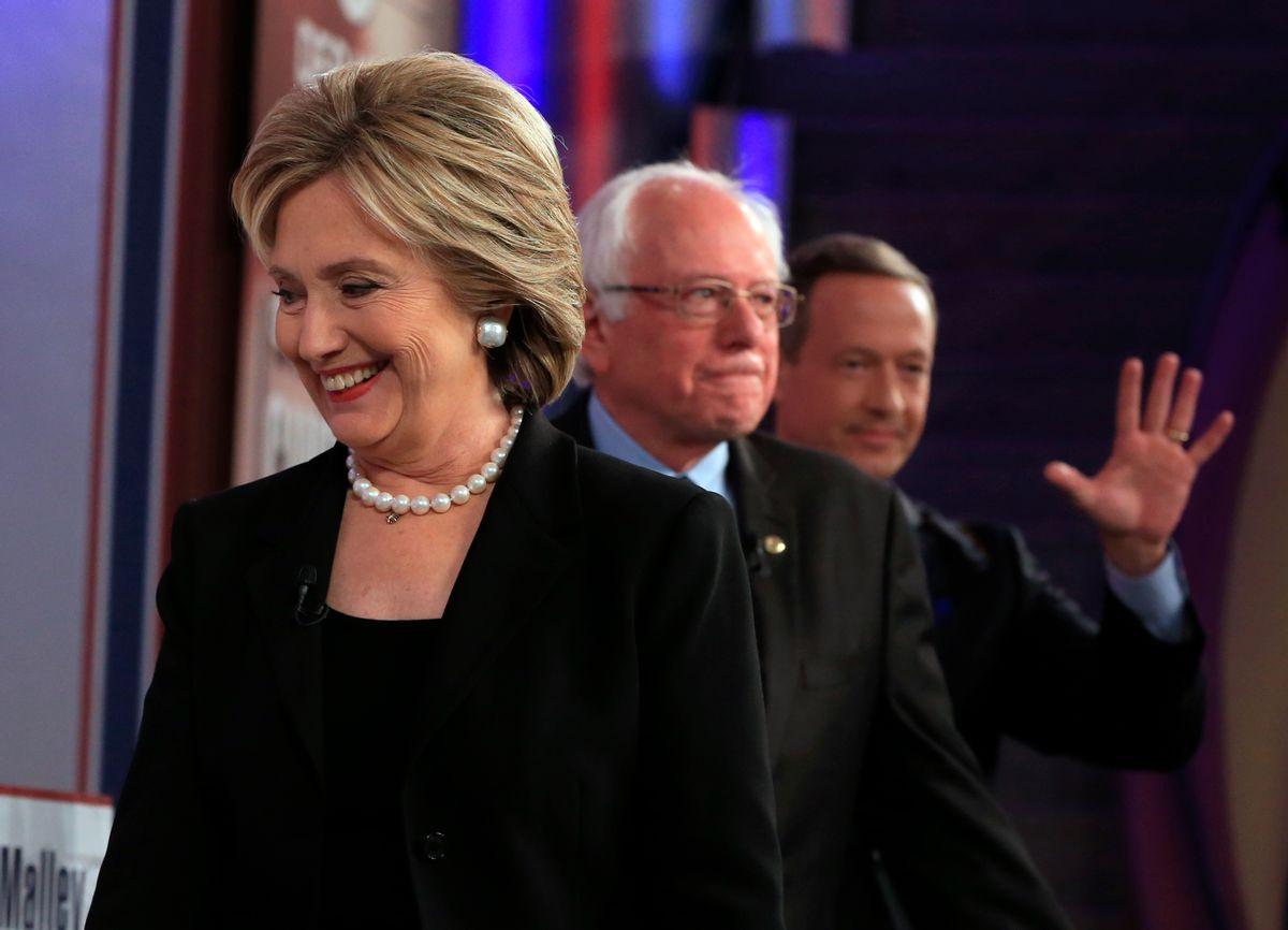 Democratic presidential candidates Hillary Rodham Clinton, Bernie Sanders and Martin O'Malley (AP Photo/) (AP/Nati Harnik)