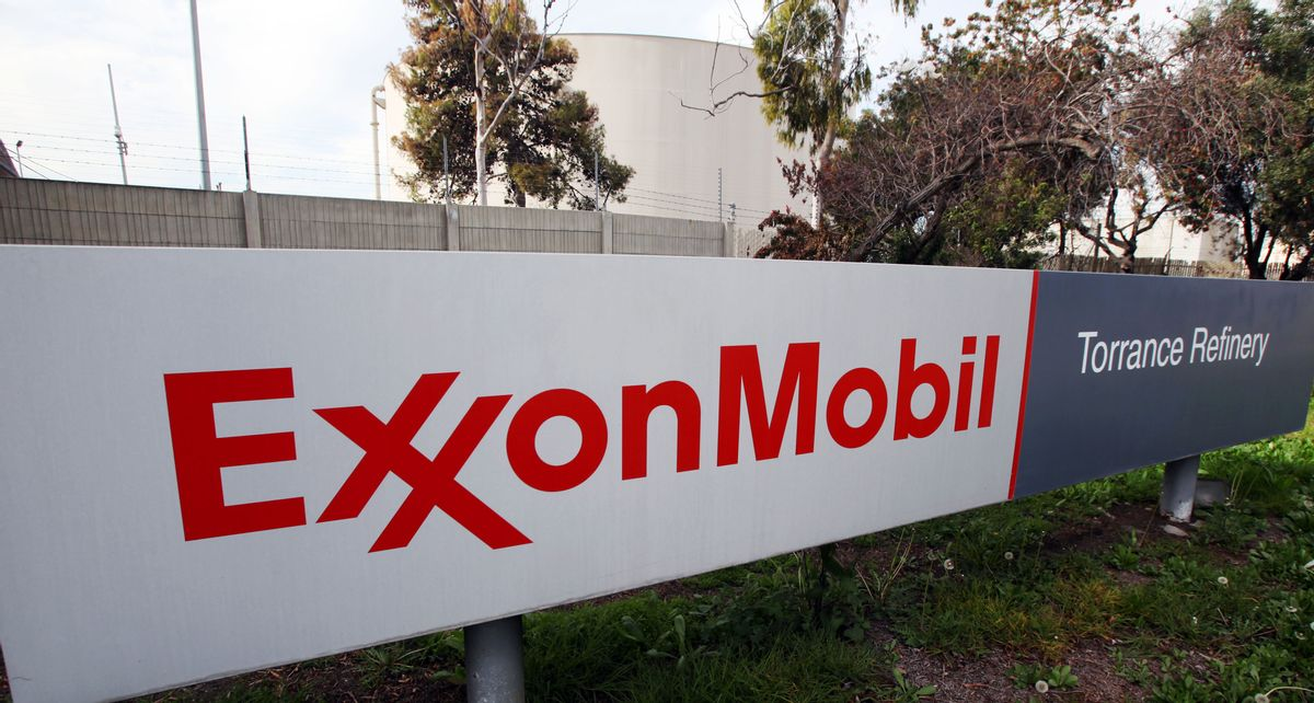 FILE - This Jan. 30, 2012 file photo shows the sign for the ExxonMobil Torerance Refinery in Torrance, Calif. (AP Photo/Reed Saxon, File) (AP)