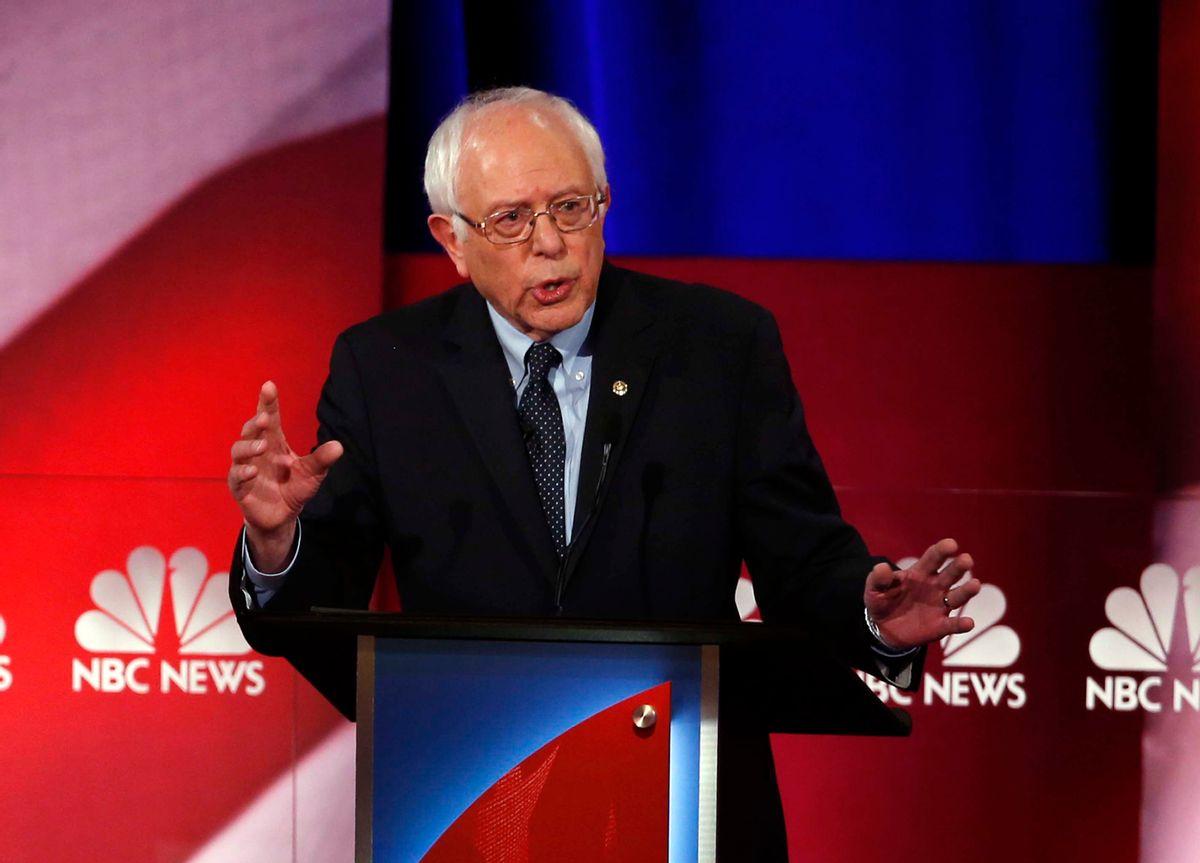 Democratic presidential candidate, Sen. Bernie Sanders, I-Vt,  speaks at the NBC, YouTube Democratic presidential debate at the Gaillard Center, Sunday, Jan. 17, 2016, in Charleston, S.C. (AP Photo/Stephen B. Morton) (AP)