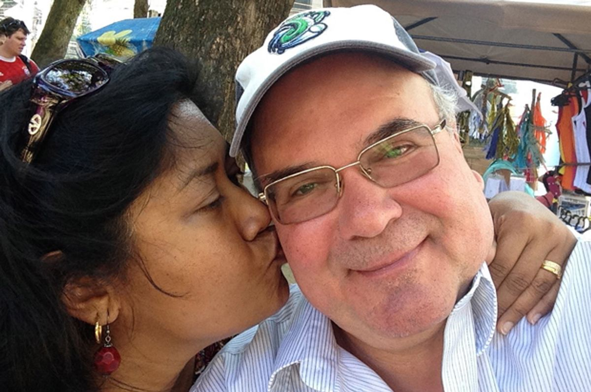 The author with her husband in August 2014. (Falguni Sheth)