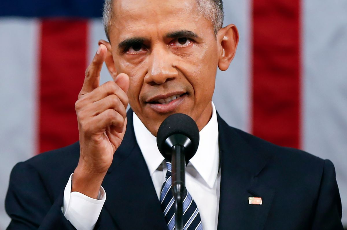 President Barack Obama delivers his State of the Union address before a joint session of Congress on Capitol Hill in Washington, Tuesday, Jan. 12, 2016.  (AP/Evan Vucci, Pool)