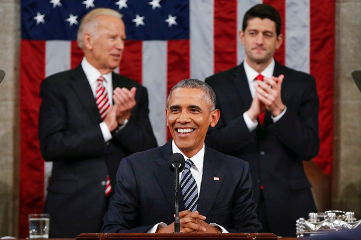 Joe Biden and Paul Ryan applaud Barack Obama during the State of the Union address, Jan. 12, 2016.   (AP/Evan Vucci)