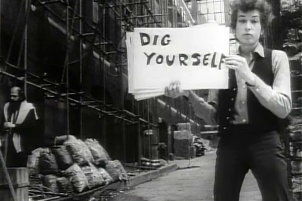 """Bob Dylan in the video for """"Subterranean Homesick Blues"""""""