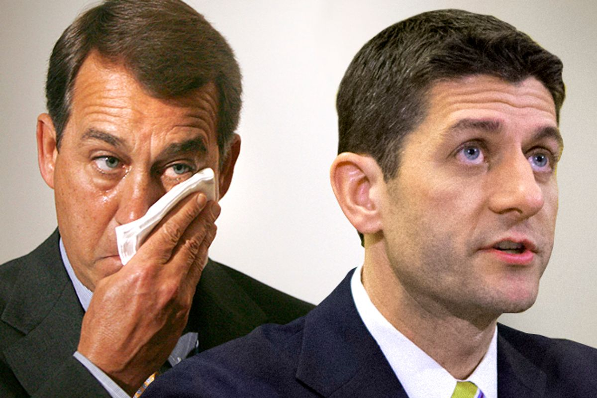 John Boehner, Paul Ryan   (Reuters/Jason Reed/AP/J. Scott Applewhite/Photo montage by Salon)
