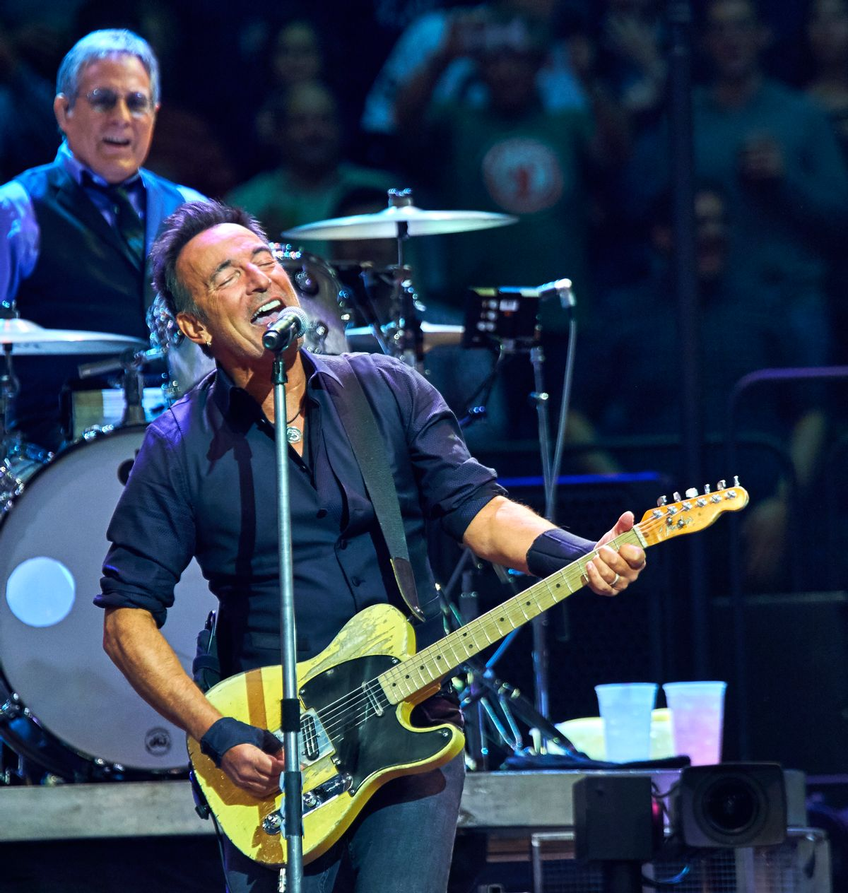 Bruce Springsteen and Max Weinberg, back, perform with the E Street Band at Madison Square Garden, Wednesday, Jan. 27, 2016, in New York.  (Photo by Robert Altman /Invision/AP) (Robert Altman/invision/ap)