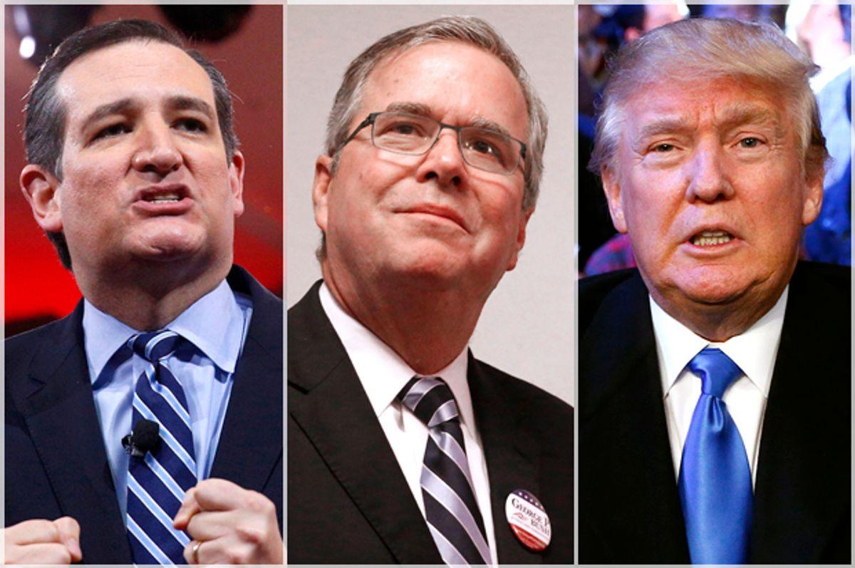 Ted Cruz, Jeb Bush, Donald Trump   (AP/Reuters/Kevin Lamarque/LM Otero/Rich Schultz)