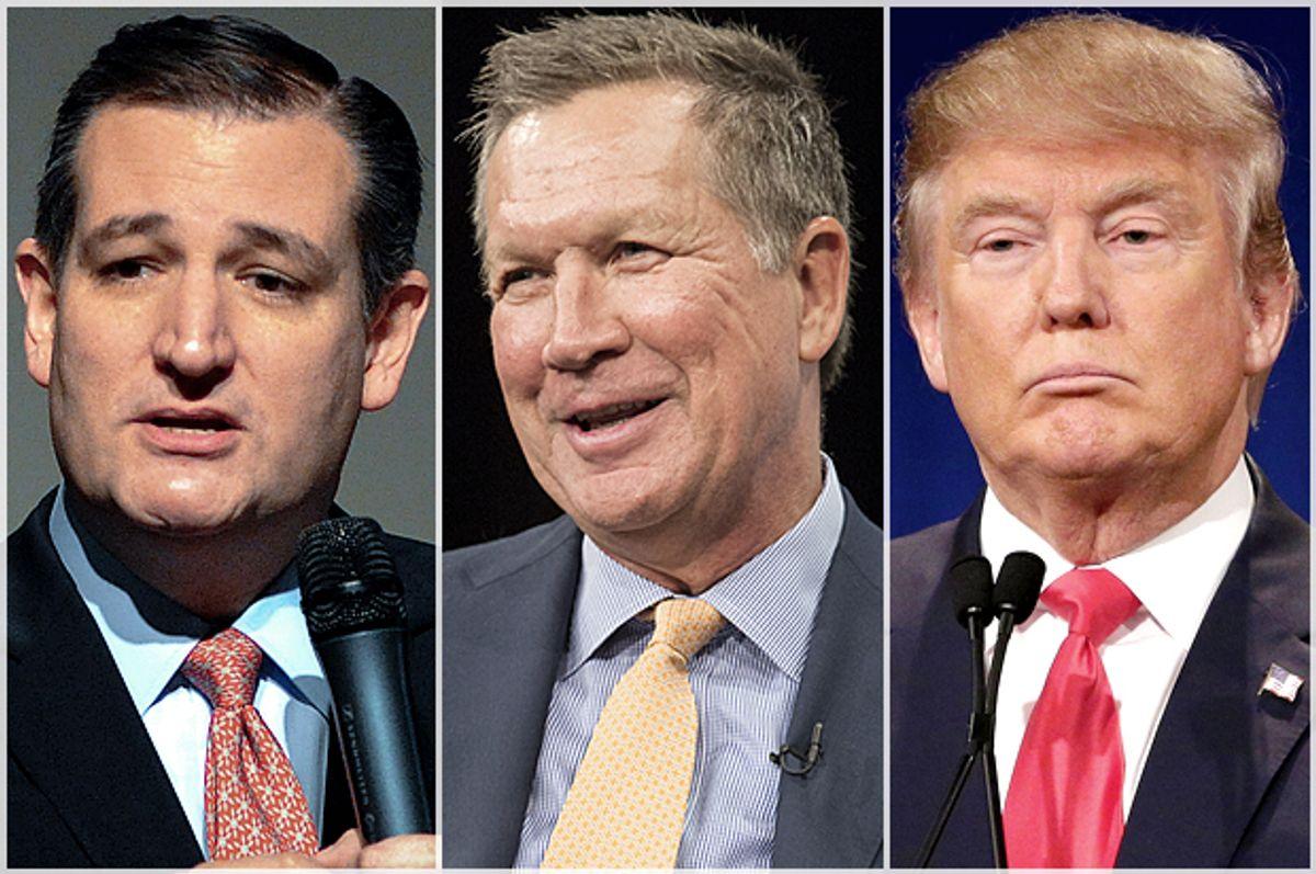 Ted Cruz, John Kasich and Donald Trump (AP/Reuters/Mark Kauzlarich/Joshua Roberts/Chuck Burton)