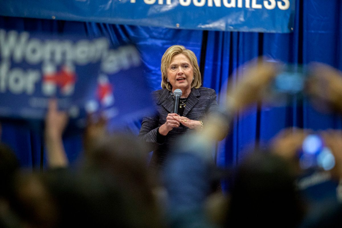 Democratic presidential candidate Hillary Clinton speak to a crowd at the Jim Clyburn Fish Fry, on Saturday, Jan. 16, 2016, at the Charleston Visitor Center in Charleston, S.C. (AP Photo/Stephen B. Morton) (AP)