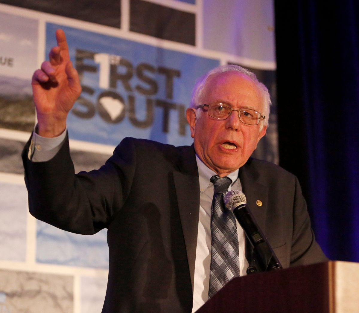 Democratic presidential candidate Sen. Bernie Sanders, I-Vt., speaks during the First in the South Dinner at the Charleston Mariott Saturday, Jan. 16, 2016, in Charleston, S.C. (AP Photo/Mic Smith) (AP)