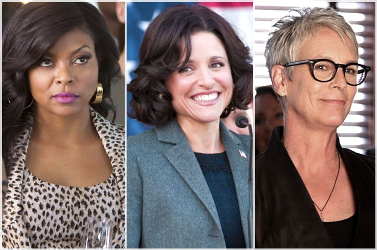 "Taraji P. Henson in ""Empire,"" Julia Louis-Dreyfus in ""Veep,"" Jamie Lee Curtis in ""Scream Queens""   (Fox/HBO)"