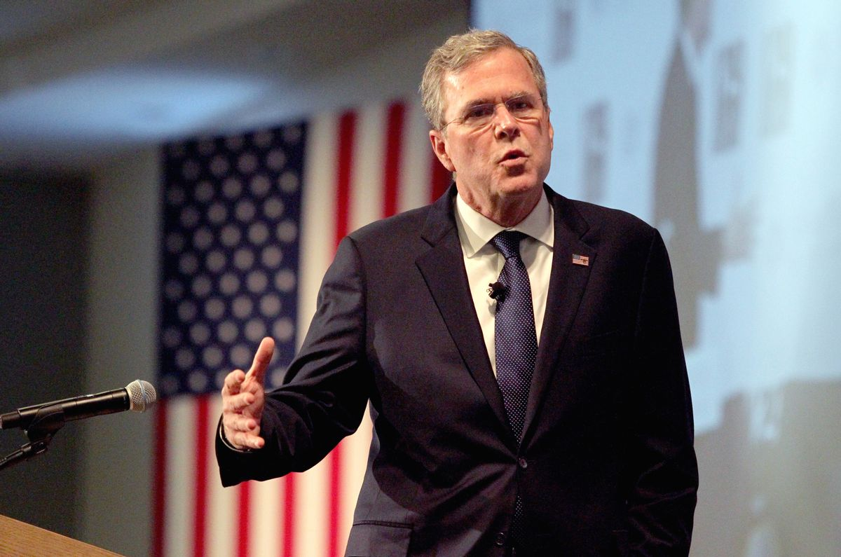 In this Jan. 5, 2016, photo, Republican presidential candidate, former Florida Gov. Jeb Bush speaks at the New Hampshire Forum on Addiction and the Heroin Epidemic at Southern New Hampshire University in Manchester, N.H. (AP Photo/Mary Schwalm) (AP)