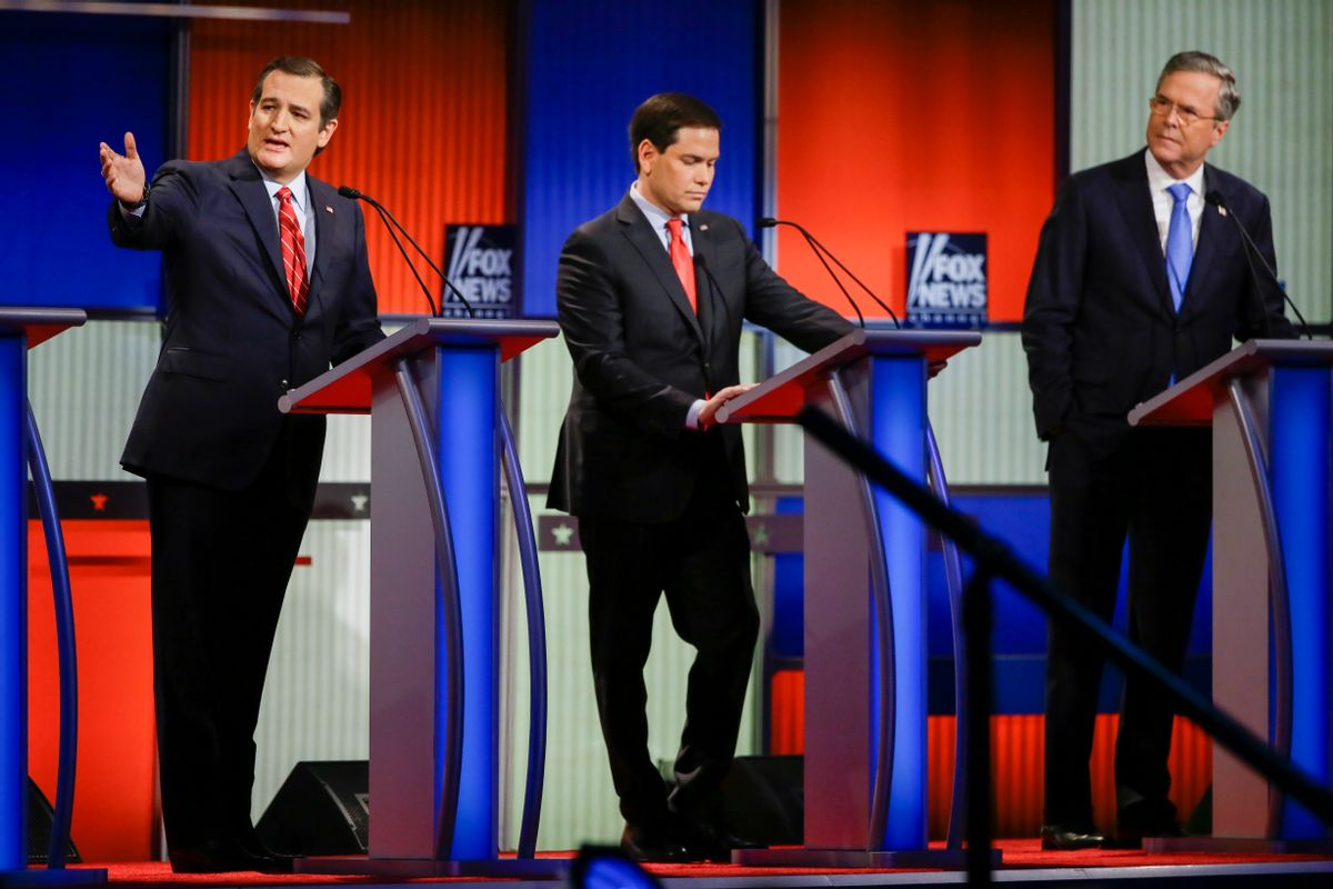 Republican presidential candidate Sen. Ted Cruz, R-Texas, left, answers a question as Sen. Marco Rubio, R-Fla., center, listens and former Florida Gov. Jeb Bush, right, looks on during a Republican presidential primary debate, Thursday, Jan. 28, 2016, in Des Moines, Iowa. (AP Photo/Charlie Neibergall) (AP)