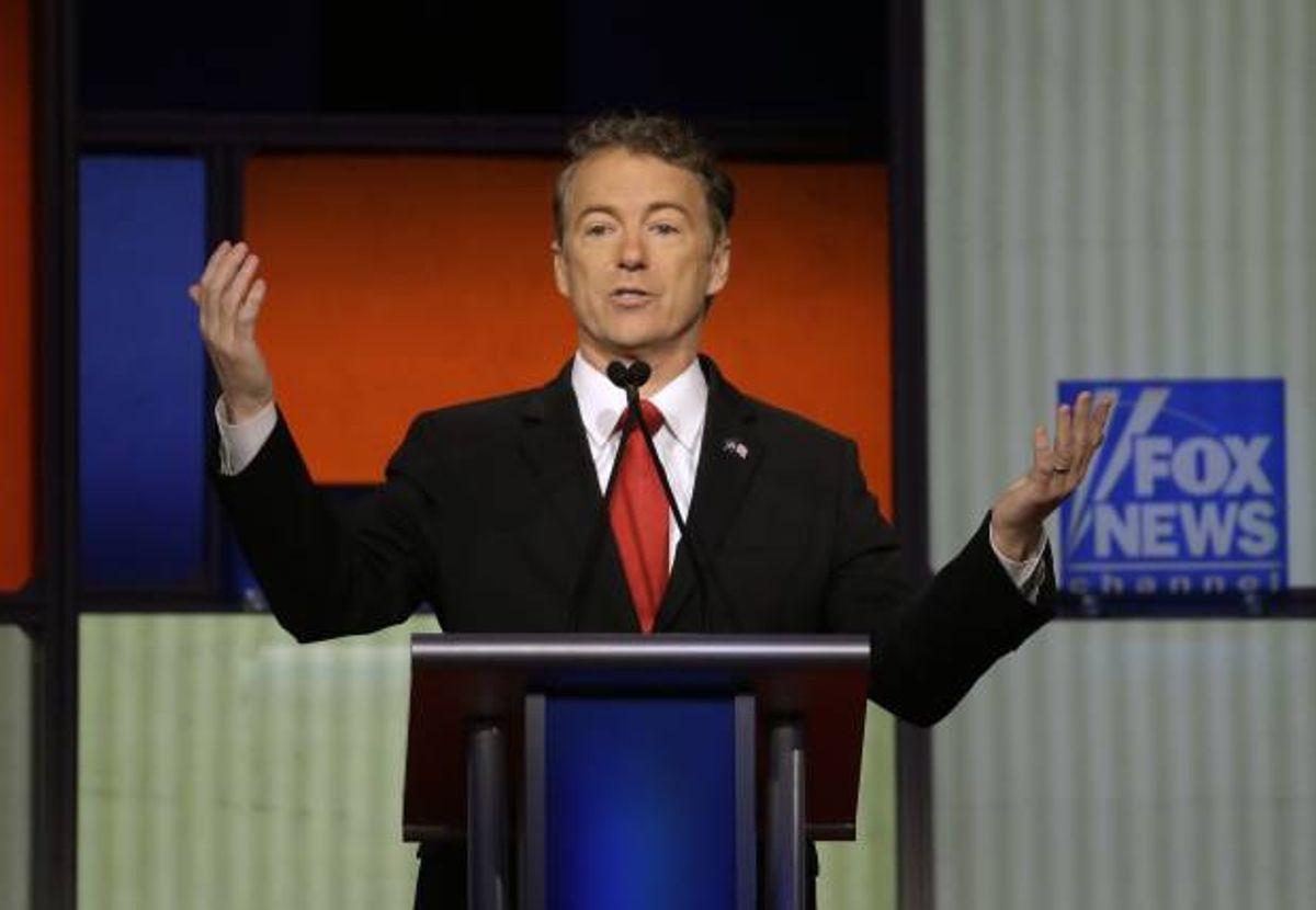 Rand Paul makes a point during a Republican presidential primary debate, Thursday, Jan. 28, 2016, in Des Moines, Iowa. (AP Photo/Chris Carlson) (AP)