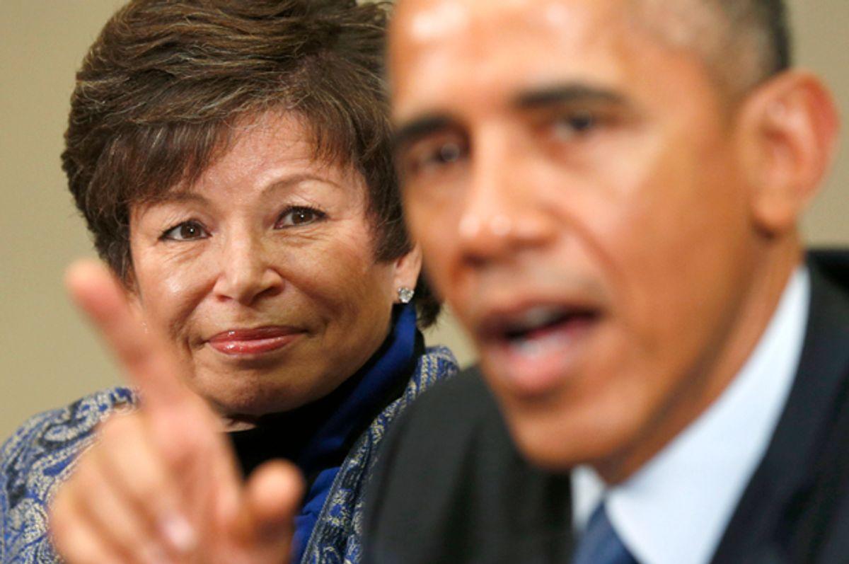 Valerie Jarrett, Barack Obama   (Reuters/Kevin Lamarque)