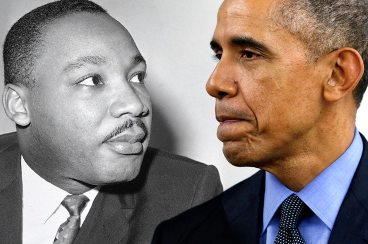 Martin Luther King Jr,  Barack Obama (AP/Bill Ingraham/Reuters/Jonathan Ernst/Photo montage by Salon)