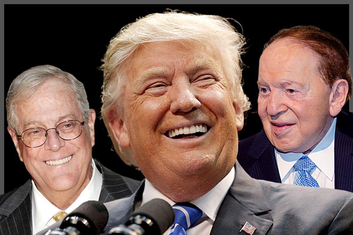 David Koch, Donald Trump, Sheldon Adelson   (AP/Reuters/Mark Lennihan/Chris Keane/Scott Roth/Photo Montage by Salon)