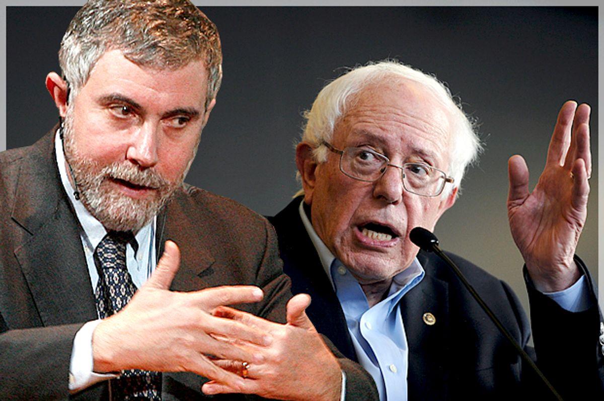 Paul Krugman, Bernie Sanders   (Reuters/Bob Strong/Mark Kauzlarich/Photo montage by Salon)