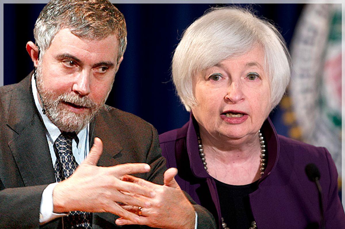 Paul Krugman, Janet Yellen   (Reuters/Bob Strong/AP/Manuel Balce Ceneta/Photo montage by Salon)