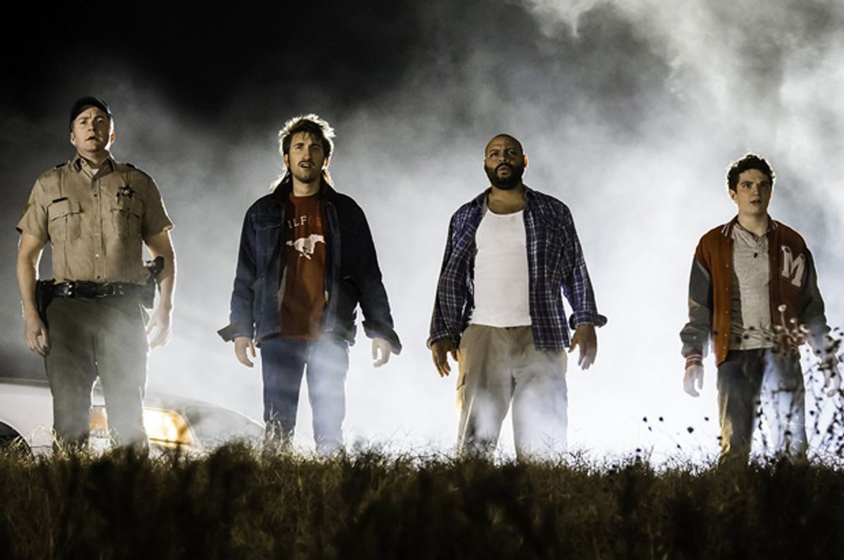 """Burnie Burns, Colton Dunn, Gavin Free and Michael Jones in """"Lazer Team""""   (Rooster Teeth Productions)"""