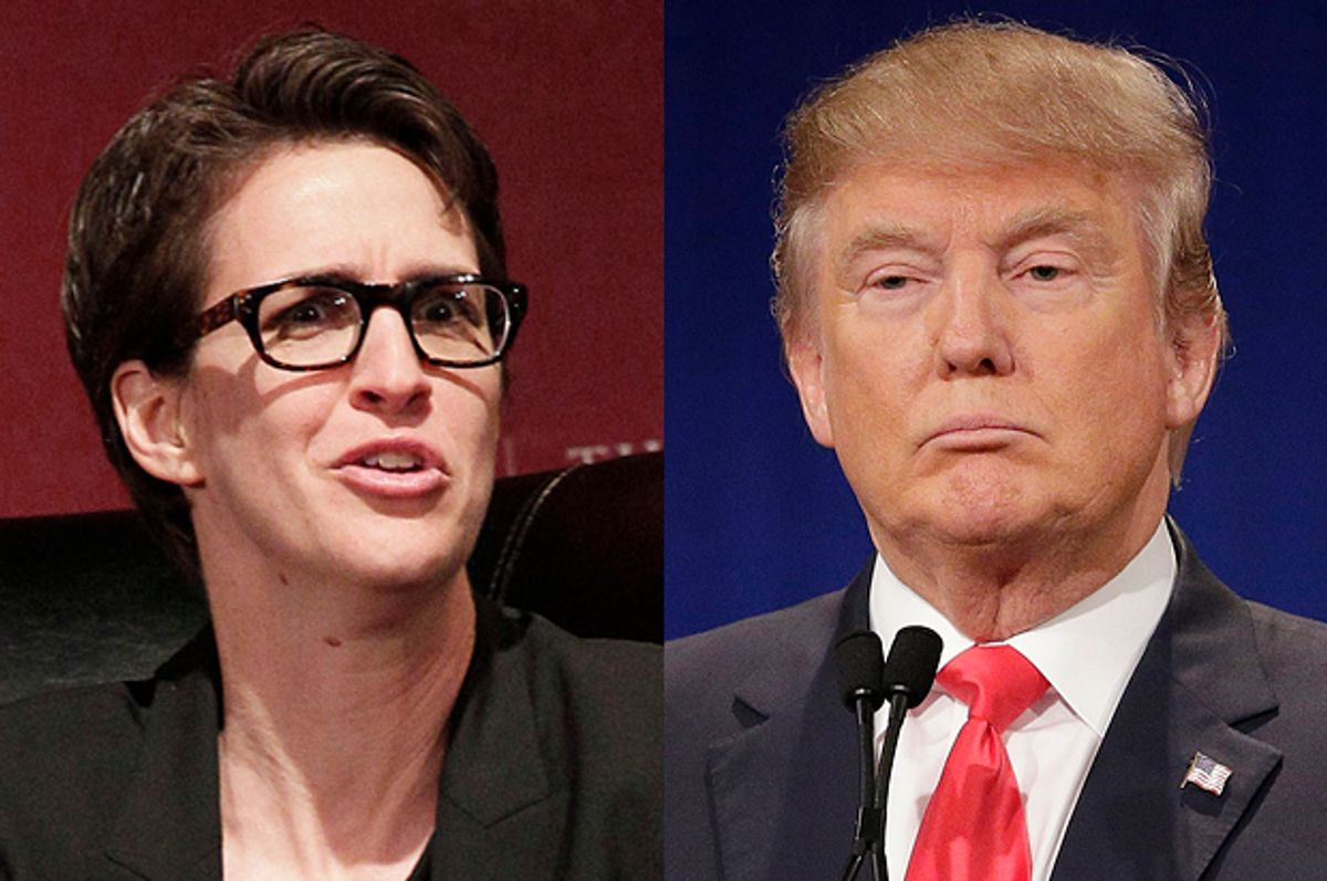 Rachel Maddow, Donald Trump   (AP/Nam Y. Huh/Chuck Burton)