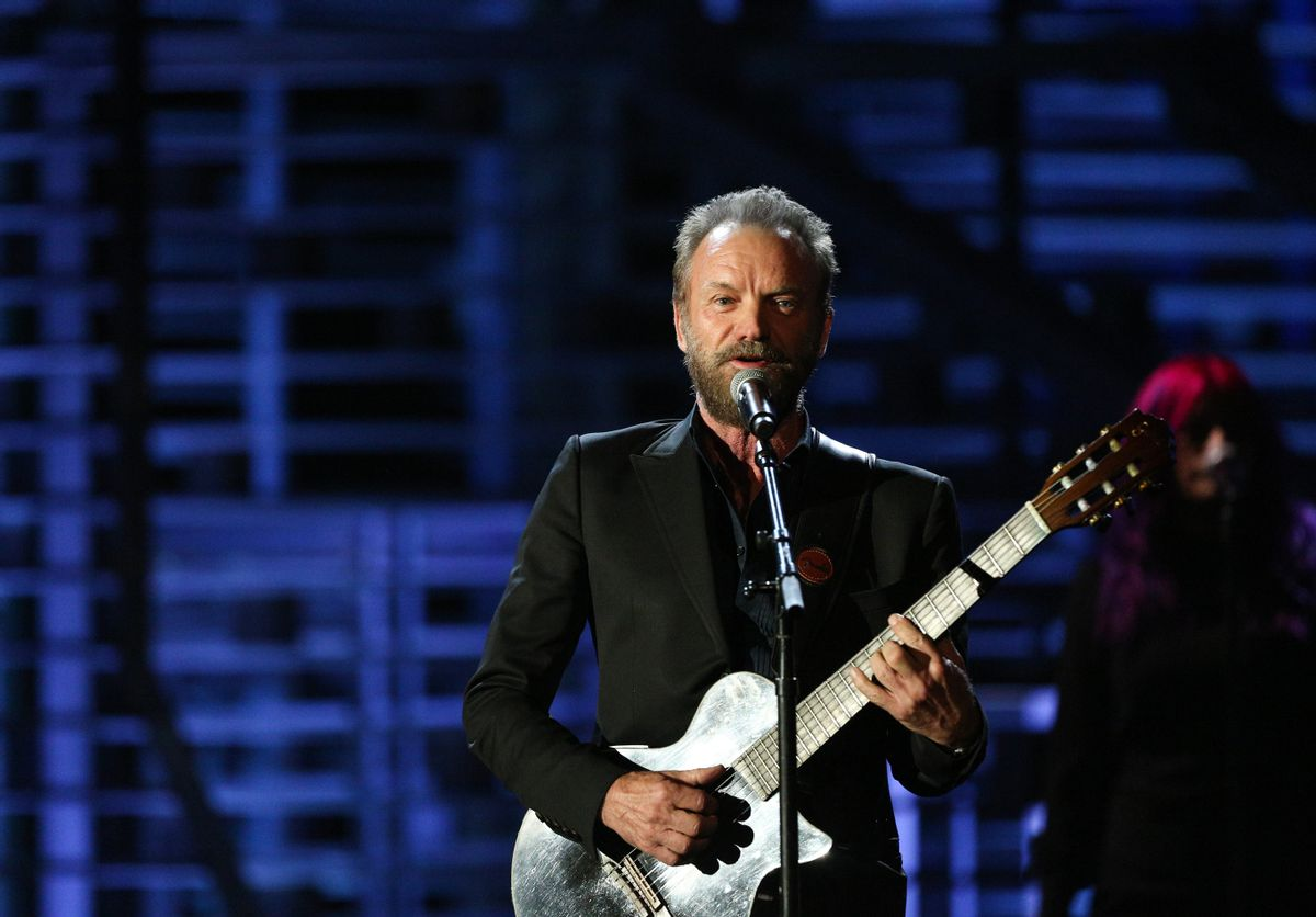 """FILE - In this Nov. 18, 2015 file photo, Sting performs at Shining a Light: A Concert for Progress on Race in America at the Shrine Auditorium in Los Angeles. Sting is trading """"Fields of Gold"""" for a court of stars. The Grammy-winning artist known for hits like """"Roxanne"""" and """"Desert Rose"""" will perform the halftime show at the NBA All-Star Game on Feb. 14, 2016, at the Air Canada Centre in Toronto. (Photo by Rich Fury/Invision/AP, File) (Rich Fury/invision/ap)"""