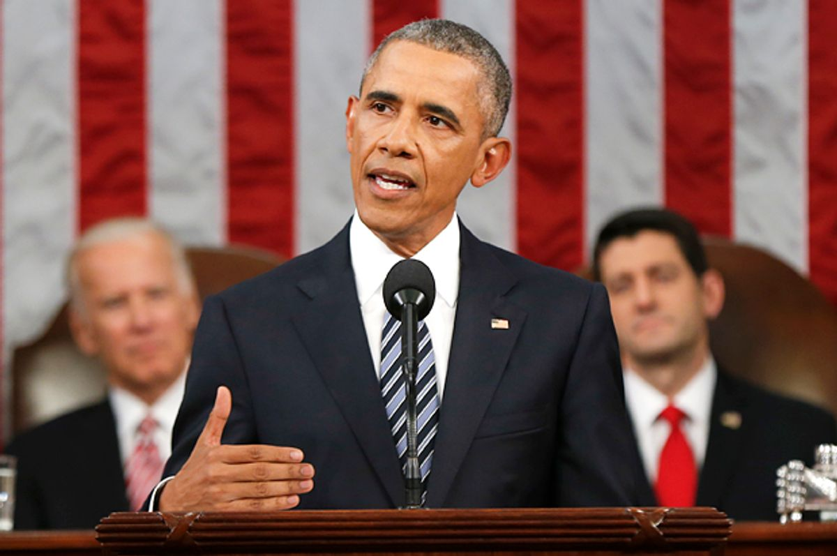 Barack Obama delivers his State of the Union address, Jan. 12, 2016.  (AP/Evan Vucci)