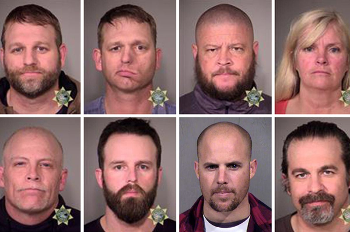 Clockwise, from top left: Ammon Bundy, Ryan Bundy, Brian Cavalier, Shawna Cox, Peter Santilli, Jon Eric Ritzheimer, Ryan Payne, Joseph Donald O'Shaughnessy.   (AP/Maricopa County Sheriff's Office)