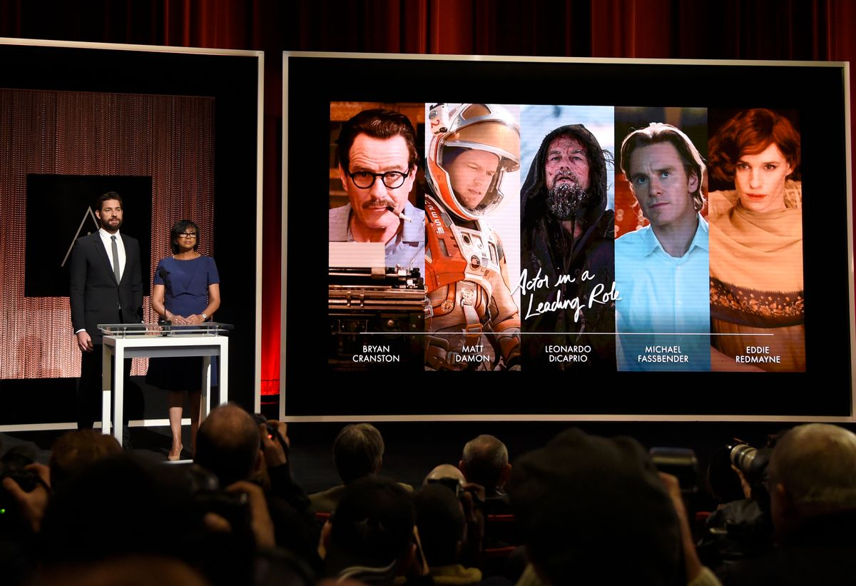 John Krasinski, left, and Academy President Cheryl Boone Isaacs announce the Academy Awards nominations  (Chris Pizzello/invision/ap)