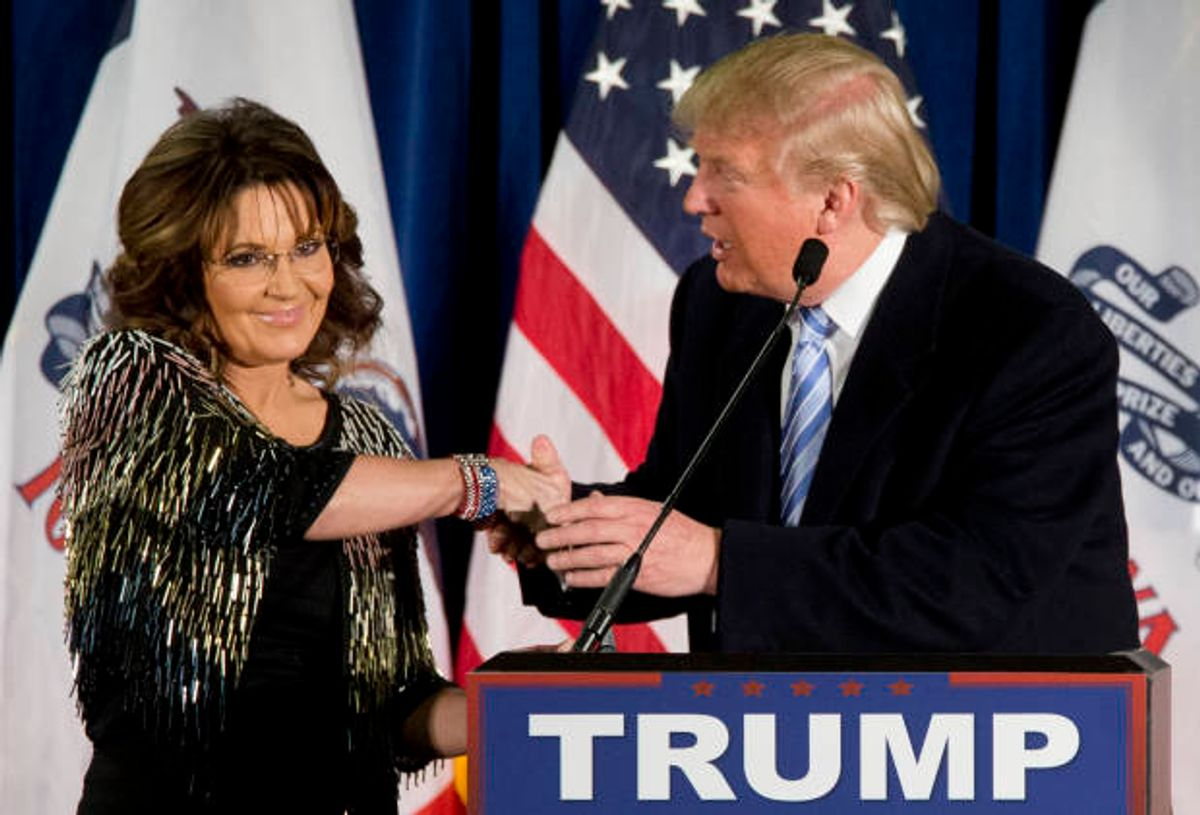 Former Republican vice presidential candidate, and former Alaska Gov. Sarah Palin endorses Republican presidential candidate Donald Trump during a rally at the Iowa State University, Tuesday, Jan. 19, 2016, in Ames, Iowa.  (AP)