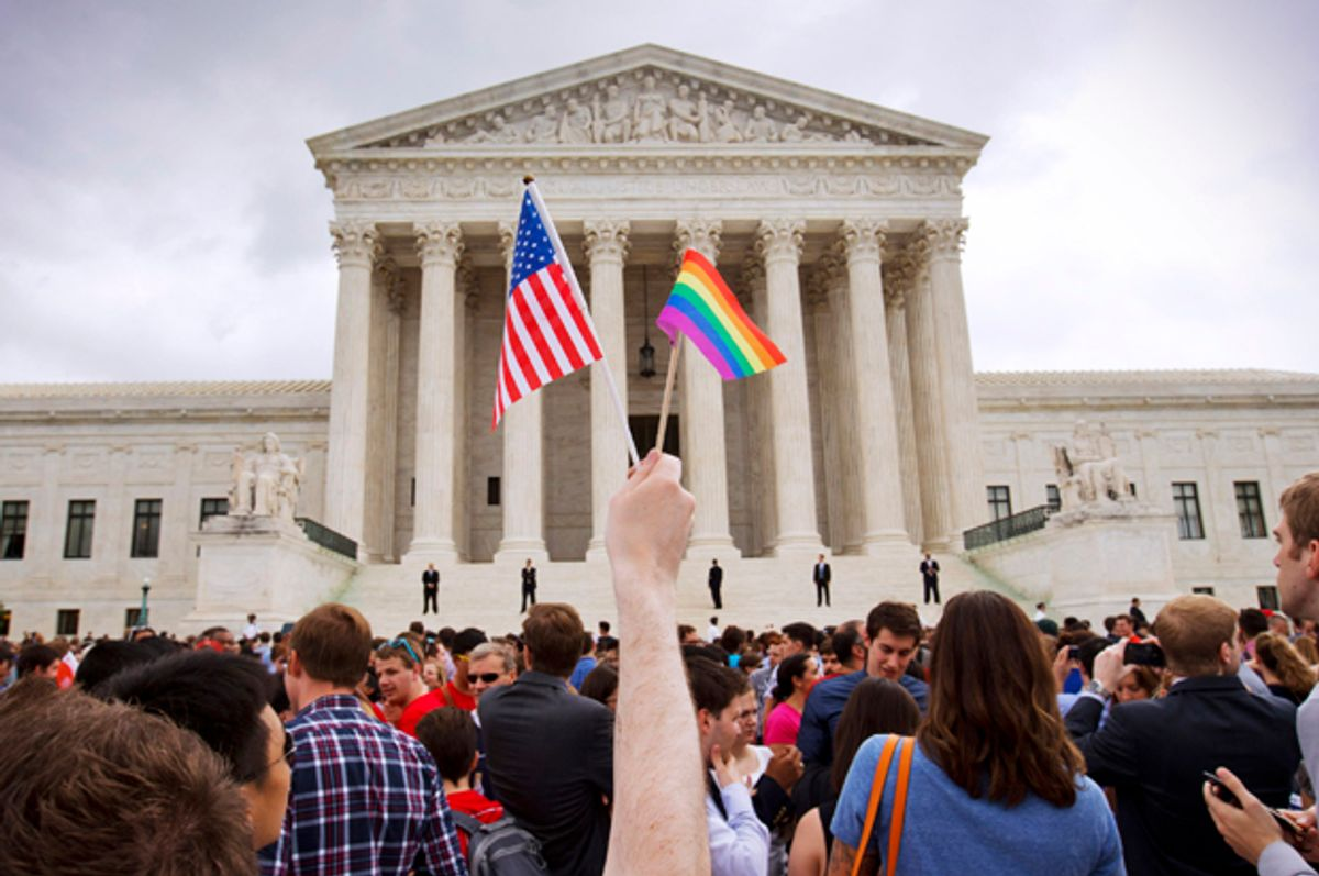 The Supreme Court in Washington after the court legalized gay marriage nationwide, June 26, 2015.    (AP/Jacquelyn Martin)