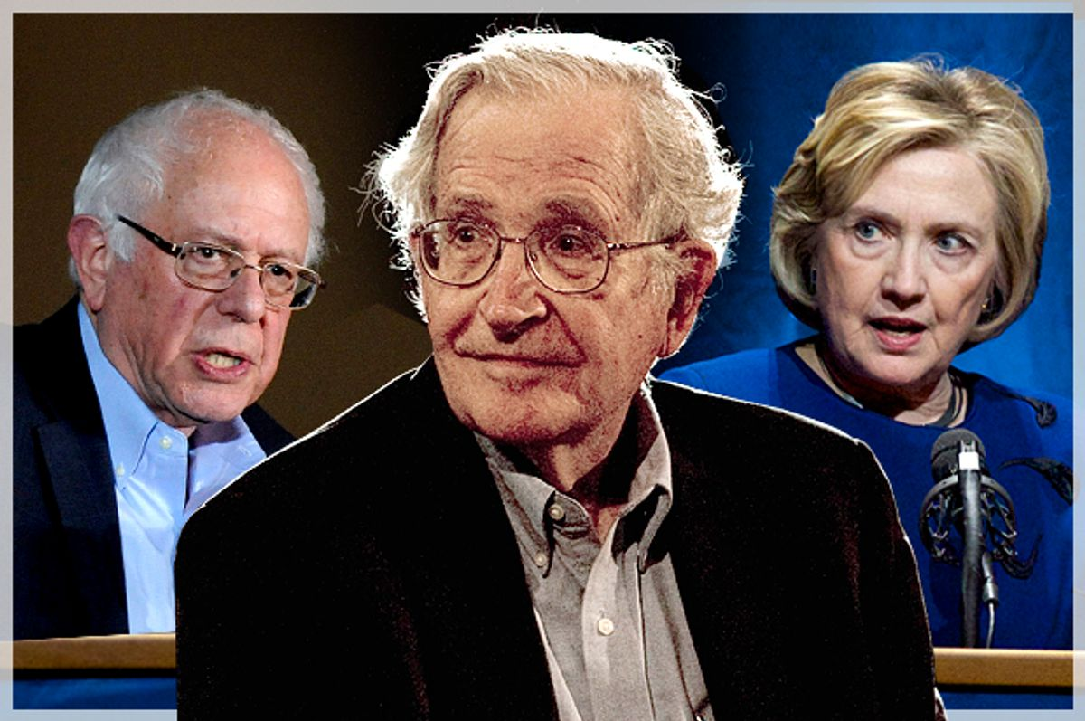 Bernie Sanders, Noam Chomsky, Hillary Clinton   (AP/Reuters/Mark Kauzlarich/Jorge Dan/Steve Dipaola/Photo montage by Salon)