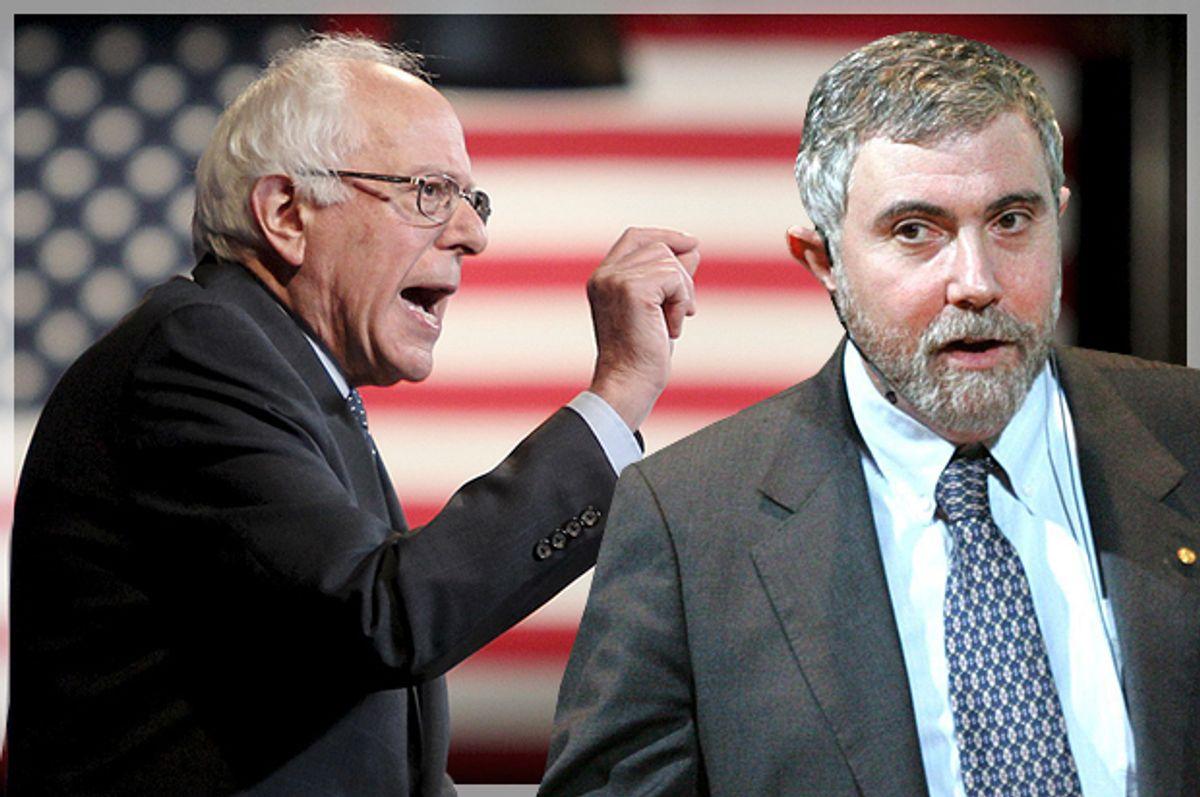 Bernie Sanders, Paul Krugman   (Reuters/Mary Schwalm/AP/Fredrik Persson/Photo montage by Salon)