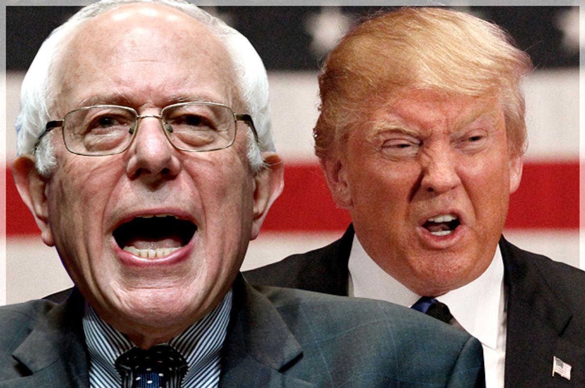 Bernie Sanders, Donald Trump   (AP/David Becker/Reuters/Rick Wilking/Photo montage by Salon)
