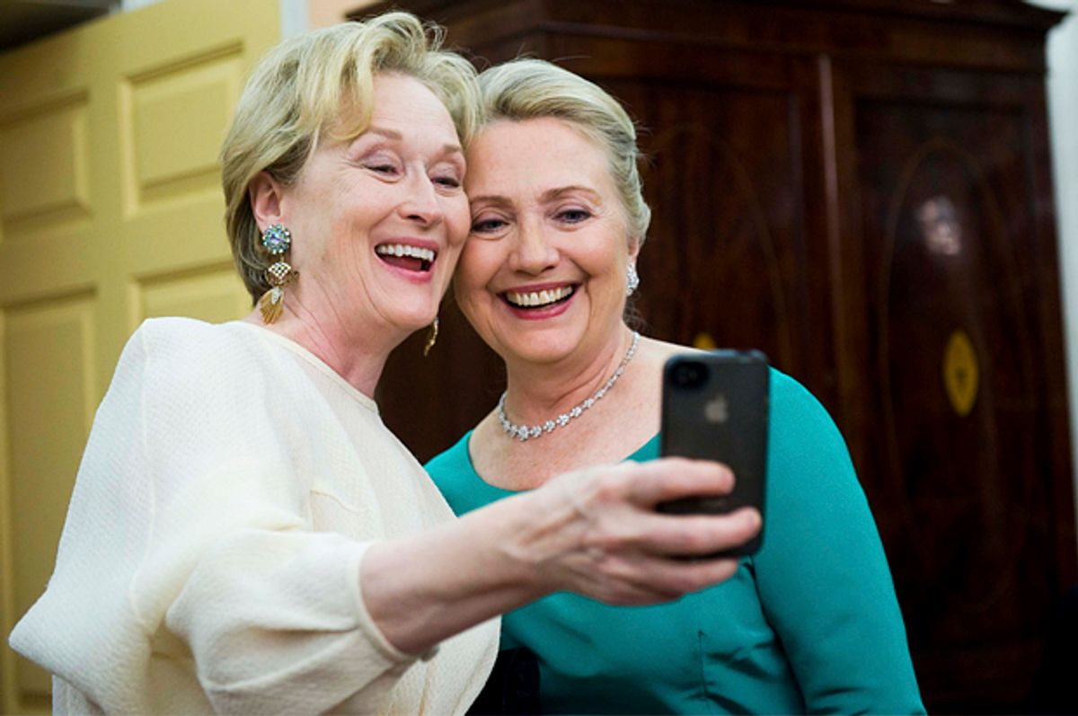Meryl Streep, Hillary Clinton   (AP/Kevin Wolf)
