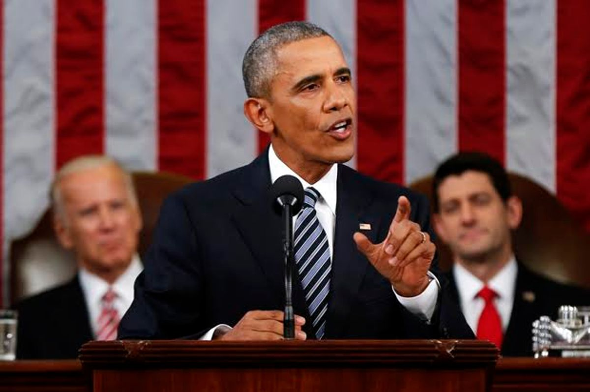 President Barack Obama delivers his State of the Union address to a joint session of Congress on Capitol Hill in Washington, Tuesday, Jan. 12, 2016. (AP Photo/Evan Vucci) (Evan Vucci)