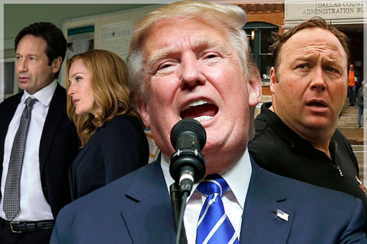 """David Duchovny and Gillian Anderson in """"The X-Files,"""" Donald Trump, Alex Jones (Fox/AP/Reuters/Brian Snyder/Jim Bourg/Salon)"""