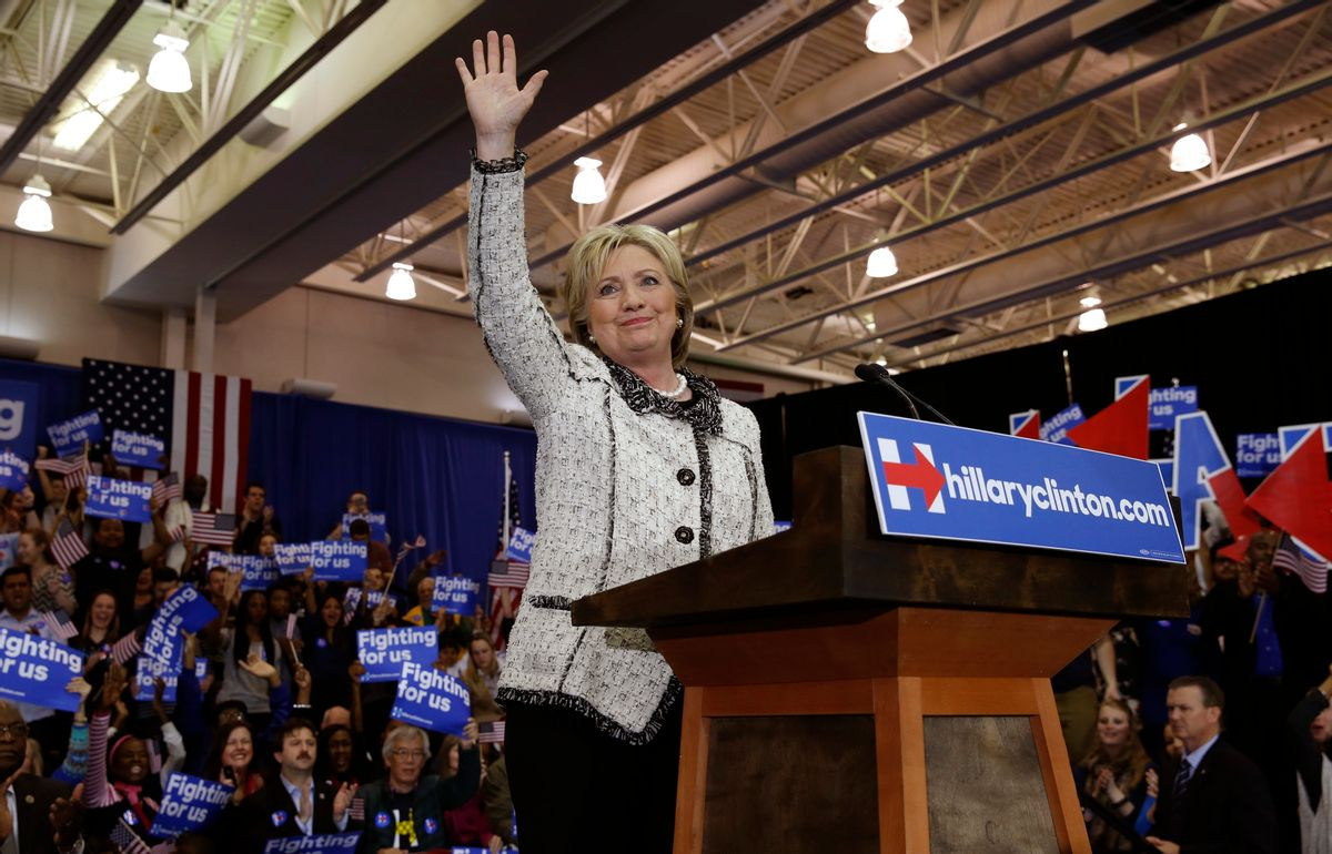 Hillary Clinton waves  to supporters after her victory speech in South Carolina. (Reuters)