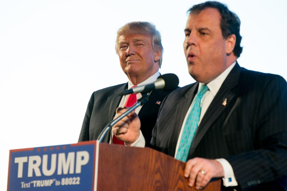 New Jersey Gov. Chris Christie, right, introduces Republican presidential candidate Donald Trump, left, at a rally at Millington Regional Airport in Millington, Tenn., Saturday, Feb. 27, 2016. (AP Photo/Andrew Harnik) (AP)