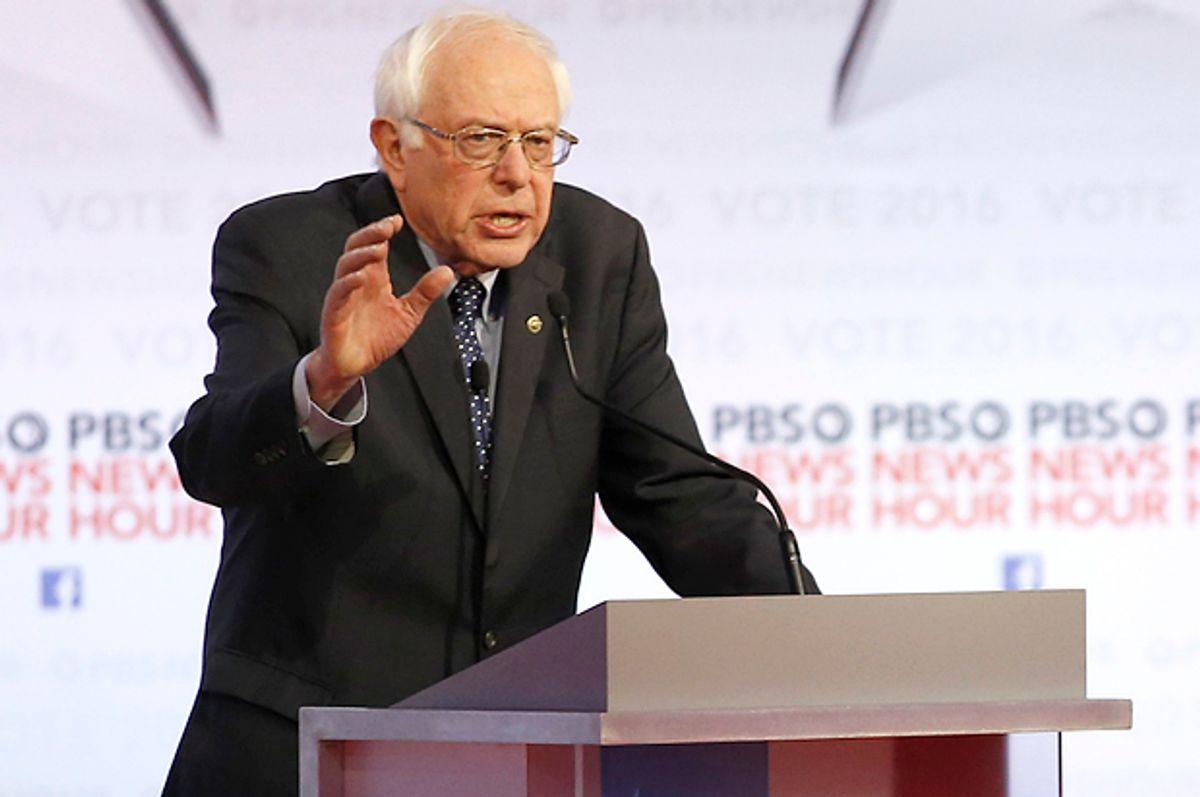 Bernie Sanders, at the Democratic debate at the University of Wisconsin-Milwaukee, Feb. 11, 2016, in Milwaukee.   (AP/Morry Gash)