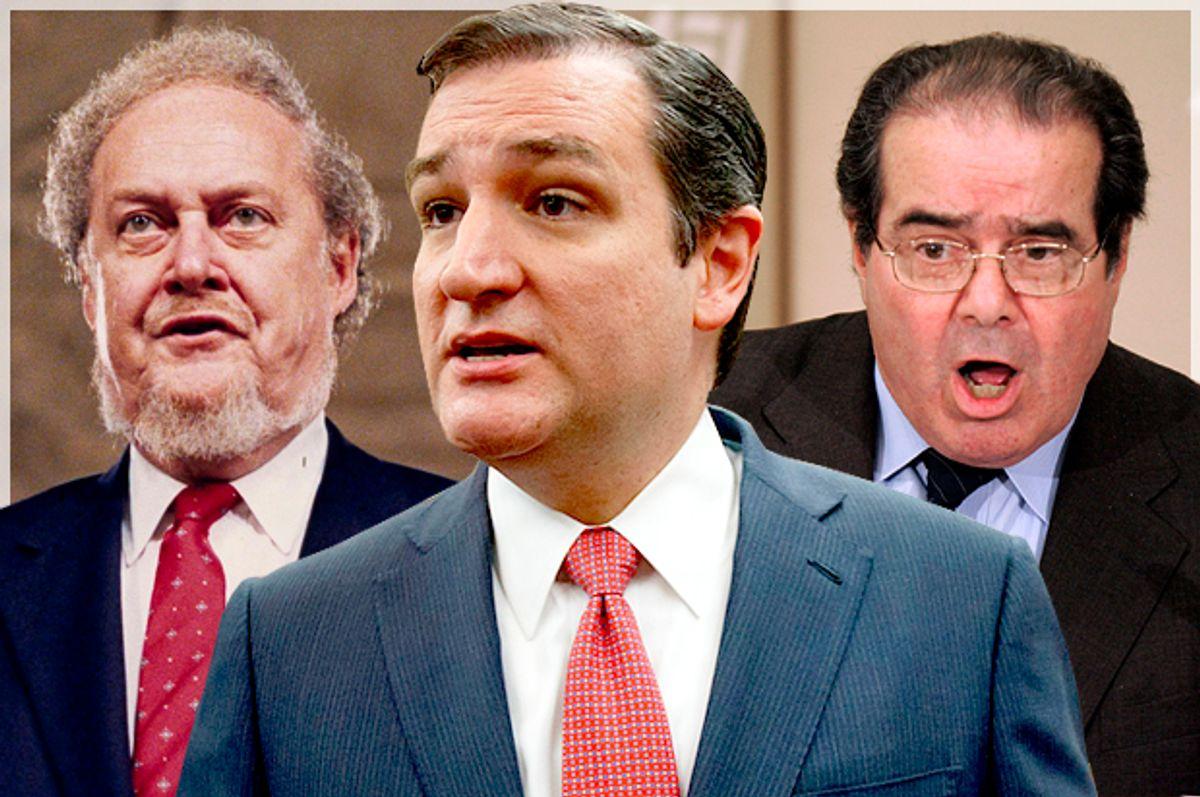 Robert Bork, Ted Cruz, Antonin Scalia   (AP/Reuters/John Duricka/J. Scott Applewhite/Kevin Lamarque/Photo montage by Salon)