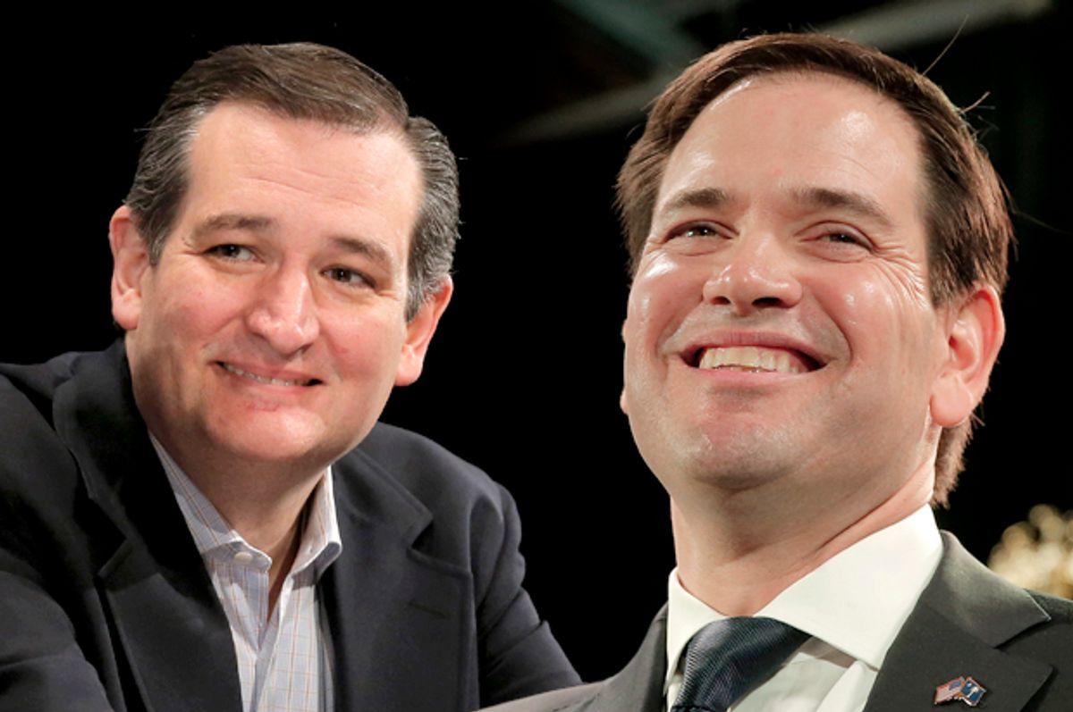 Ted Cruz, Marco Rubio   (Reuters/Chris Keane/Photo montage by Salon)