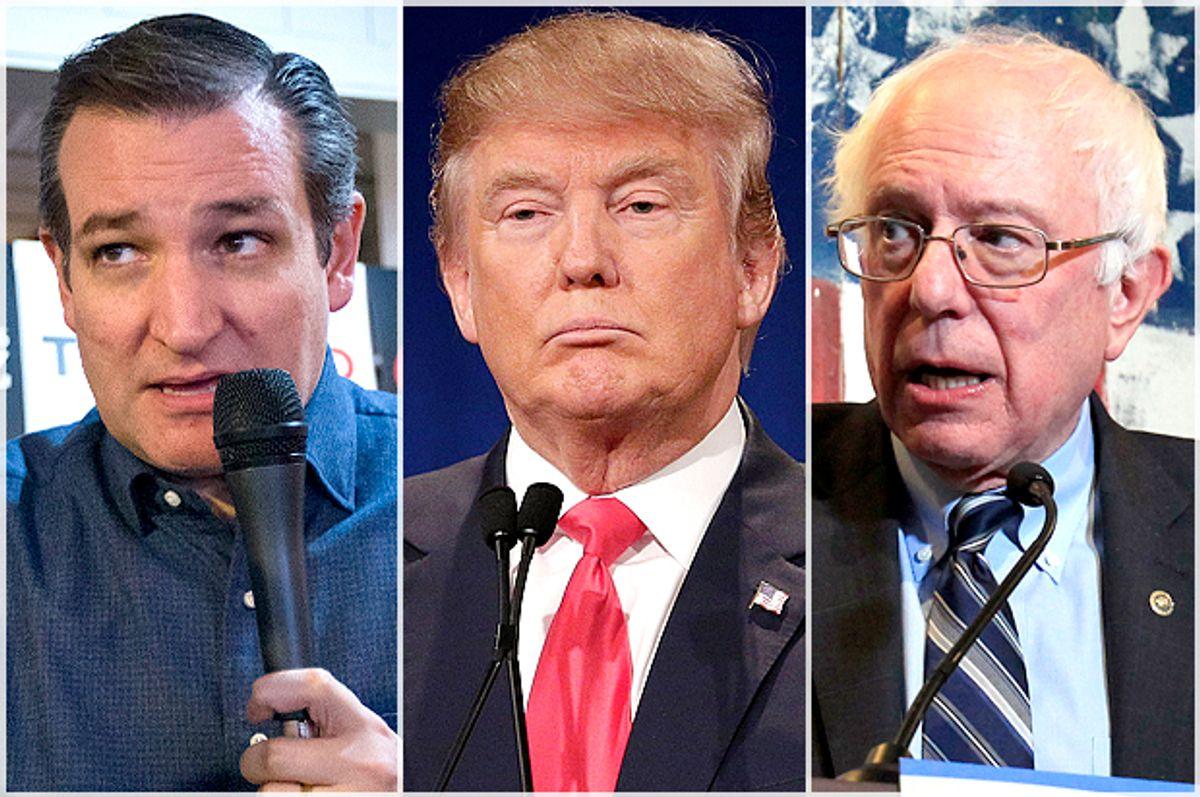 Ted Cruz, Donald Trump, Bernie Sanders   (AP/Reuters/John Minchillo/Chuck Burton/Steve Marcus)