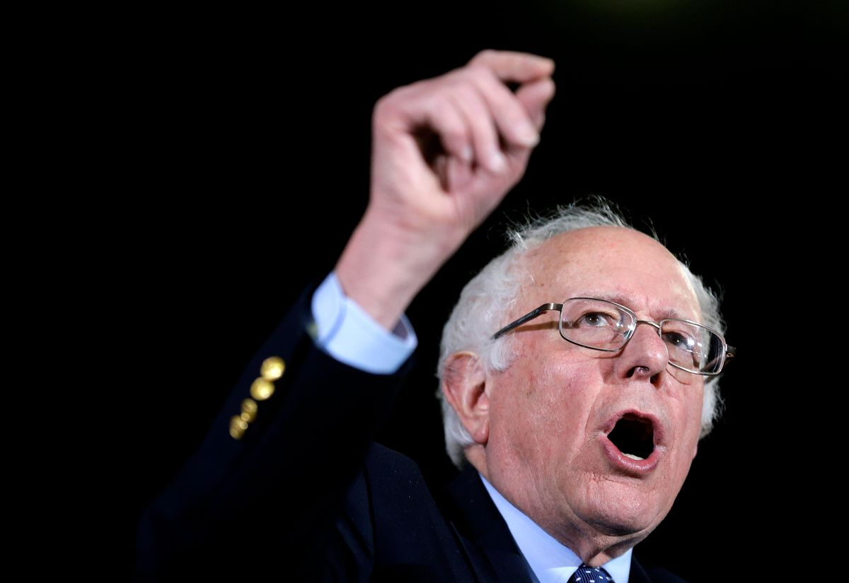 Democratic presidential candidate Sen. Bernie Sanders, I-Vt., addresses an audience during a campaign rally Monday, Feb. 22, 2016, in Amherst, Mass. (AP Photo/) (AP/Steven Senne)