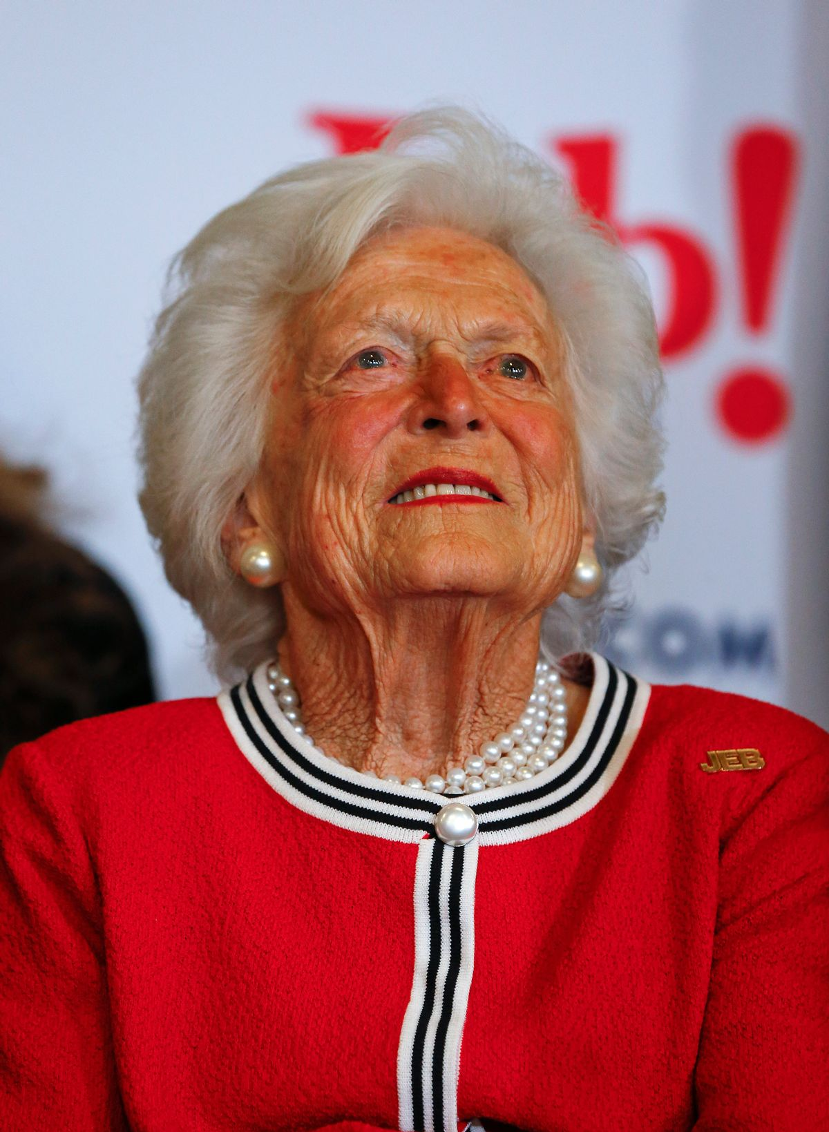 Former first lady Barbara Bush listens to her son, Republican presidential candidate, former Florida Gov. Jeb Bush speak during a campaign stop at Wade's Restaurant, Friday, Feb. 19, 2016 in Spartanburg, S.C. (AP Photo/Paul Sancya) (AP)