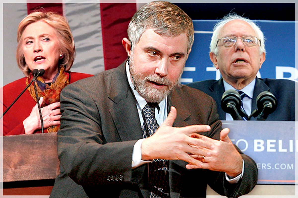 Hillary Clinton, Paul Krugman, Bernie Sanders   (Reuters/Mike Segar/Bob Strong/Mark Kauzlarich/Photo montage by Salon)