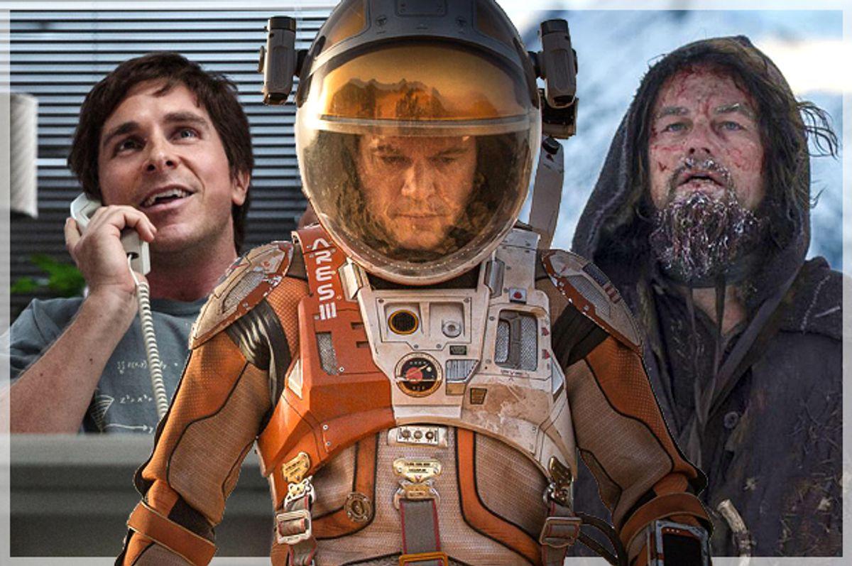 "Christian Bale in ""The Big Short,"" Matt Damon in ""The Martian,"" Leonardo DiCaprio in ""The Revenant"""